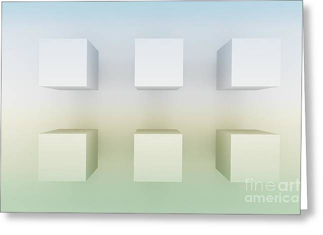 6 Cubes In Idylic World Greeting Card