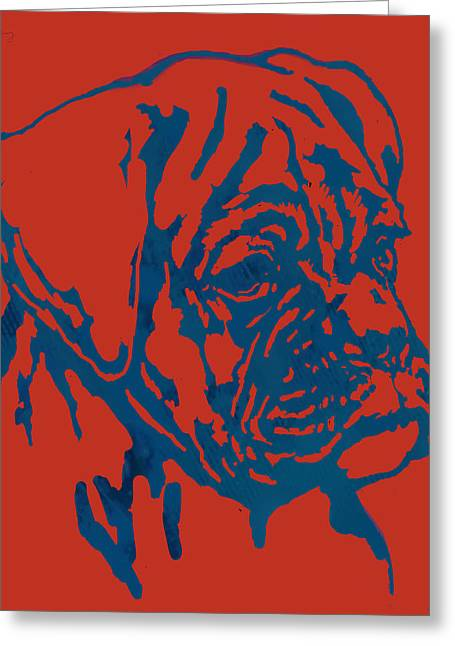Dog Stylised Pop Modern Etching Art Portrait Greeting Card