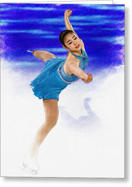 Kim Yuna - Figure Skating Greeting Card by Don Kuing