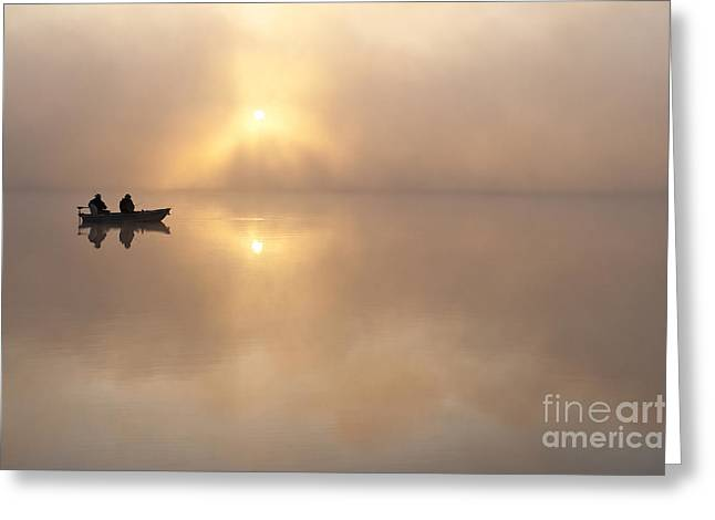Fisherman In Boat, Lake Cassidy Greeting Card by Jim Corwin