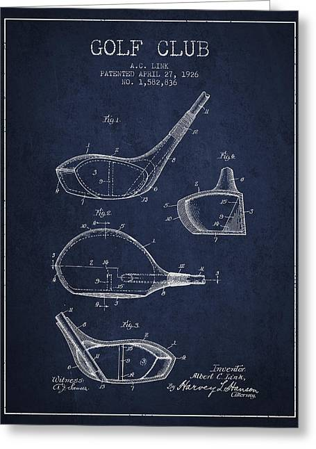 Golf Club Patent Drawing From 1926 Greeting Card