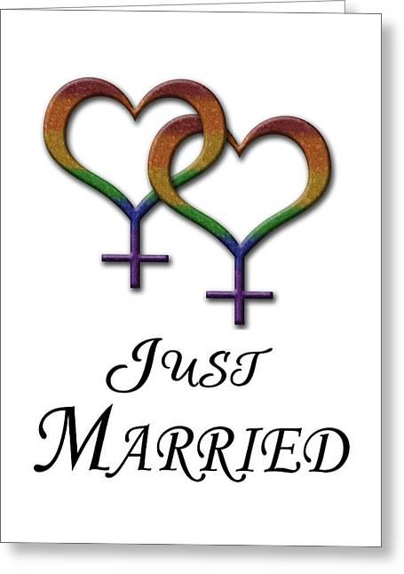 Just Married Lesbian Pride Greeting Card