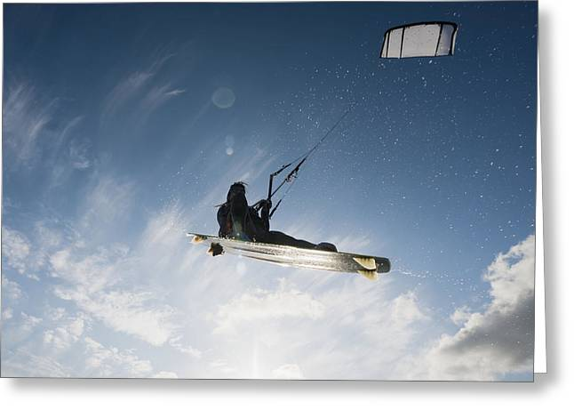 Kitesurfing Tarifa, Cadiz, Andalusia Greeting Card by Ben Welsh