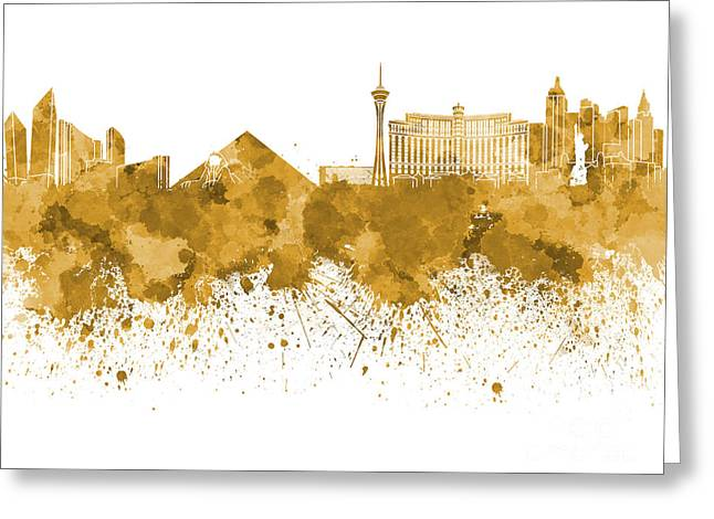Las Vegas Skyline In Watercolor On White Background Greeting Card by Pablo Romero
