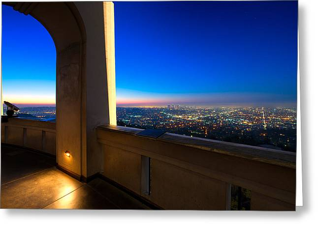 Los Angeles As Seen From The Griffith Observatory Greeting Card by Celso Diniz