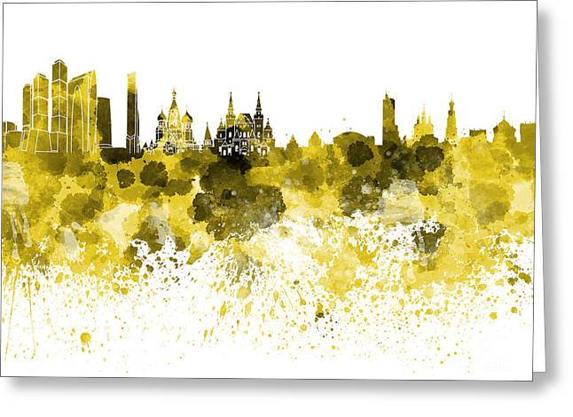 Moscow Skyline White Background Greeting Card by Pablo Romero