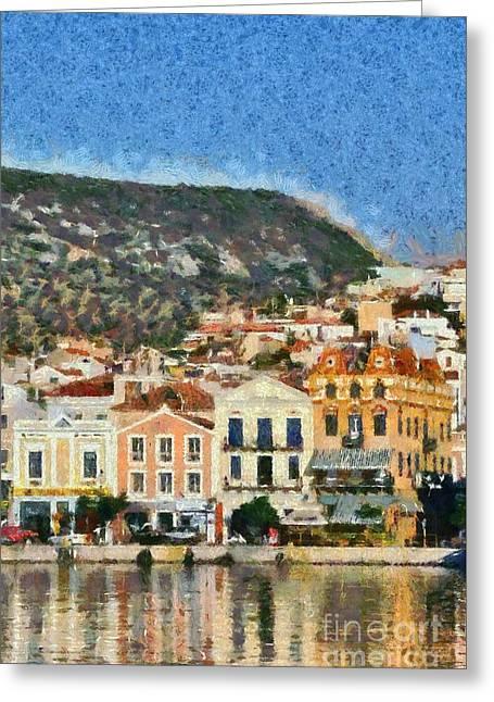 Mytilini Port Greeting Card by George Atsametakis