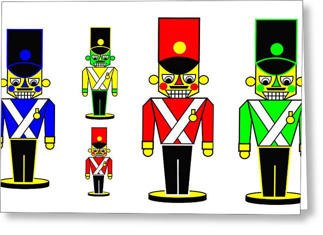 6 Nutcracker Soldiers On Black Greeting Card by Asbjorn Lonvig