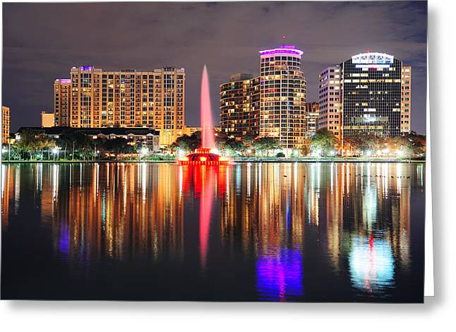 Orlando Downtown Dusk Greeting Card