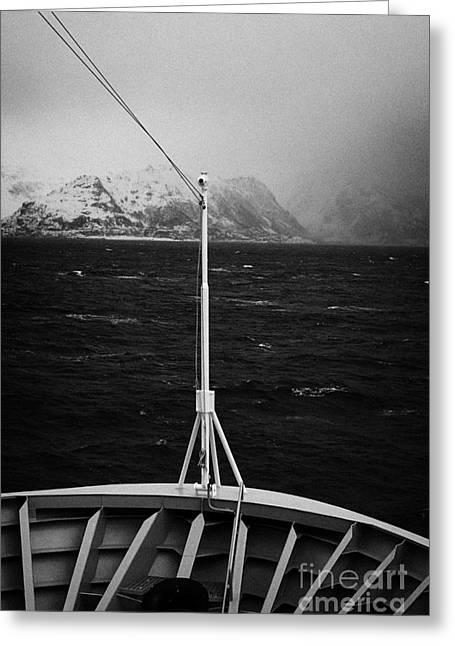 Passenger Ship Sailing Along The Coast Of The Norwegian Sea During Winter Norway Europe Greeting Card by Joe Fox