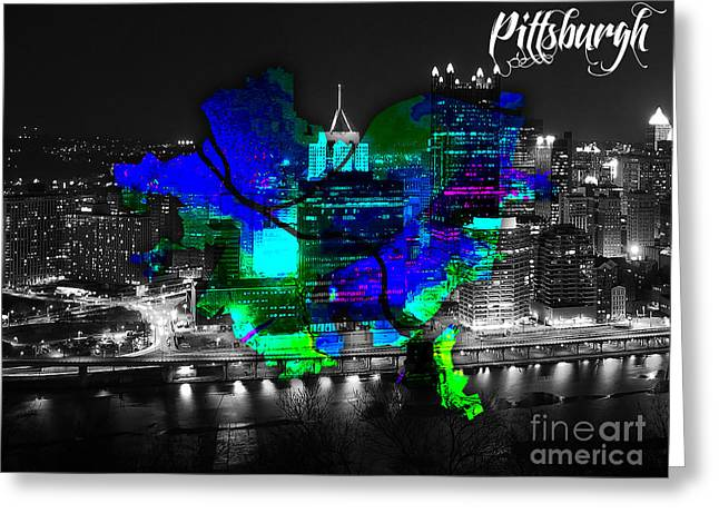 Pittsburgh Map And Skyline Watercolor Greeting Card by Marvin Blaine