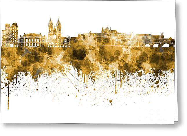 Prague Skyline In Watercolor On White Background Greeting Card by Pablo Romero