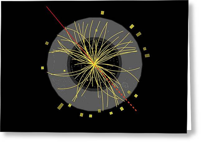 Proton Collision Greeting Card by Science Photo Library