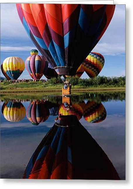 Reflection Of Hot Air Balloons Greeting Card