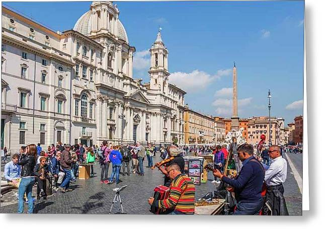 Rome, Italy. Piazza Navona Greeting Card by Ken Welsh