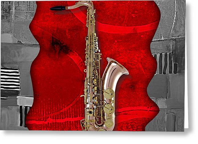 Saxophone Collection Greeting Card by Marvin Blaine