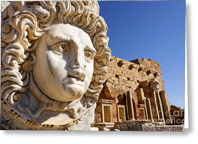 Sculpted Medusa Head At The Forum Of Severus At Leptis Magna In Libya Greeting Card by Robert Preston