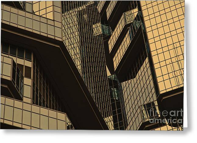 Skyscraper Windows Background In Hong Kong  Greeting Card by IB Photography