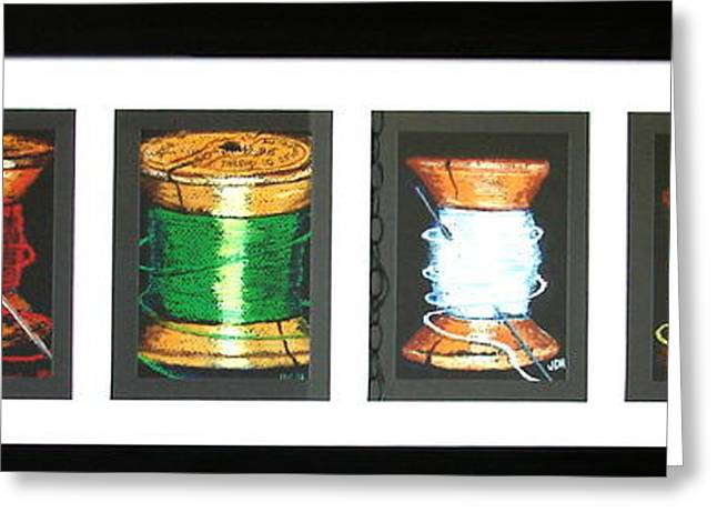 Greeting Card featuring the drawing 6 Spools by Joseph Hawkins