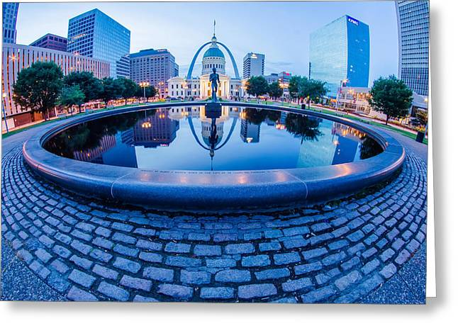 St. Louis Downtown Skyline Buildings At Night Greeting Card by Alex Grichenko