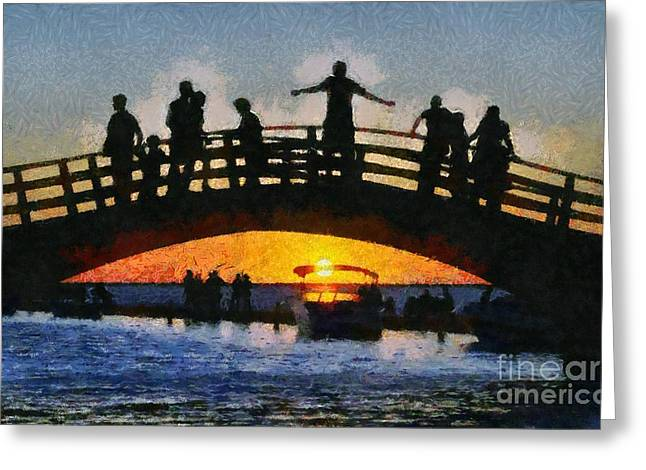 Sunset In Lefkada Town Greeting Card by George Atsametakis