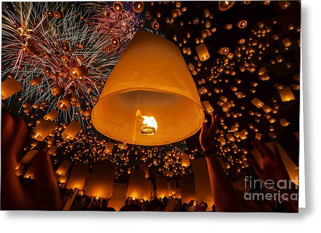 Thai People Floating Lamp Greeting Card