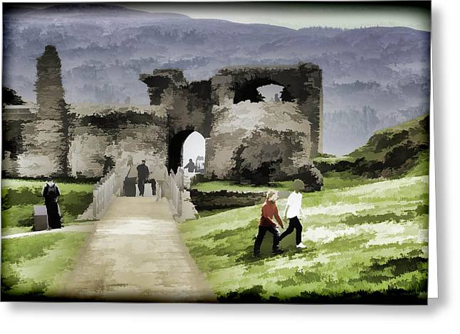 Tourists And The Path At Ruins Of The Urquhart Castle Greeting Card by Ashish Agarwal