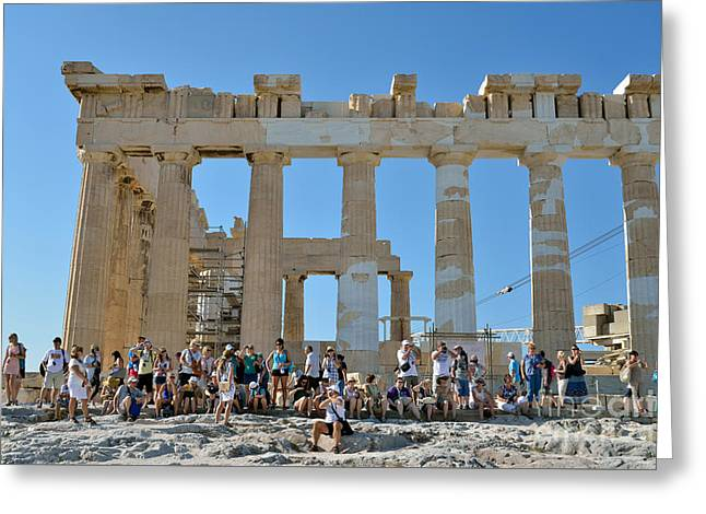 Tourists In Acropolis Of Athens In Greece Greeting Card