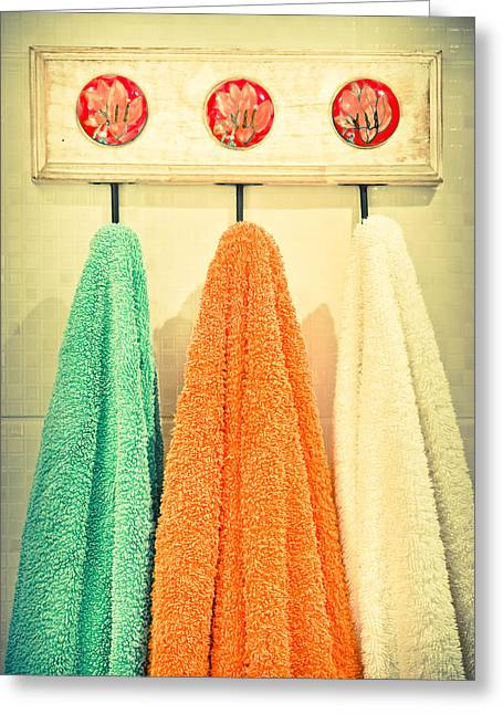 Towels Greeting Card by Tom Gowanlock