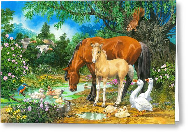 Foal And Mare By The Stream Greeting Card by John Francis