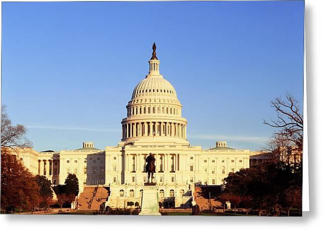 Usa, Washington Dc, Capitol Building Greeting Card by Walter Bibikow