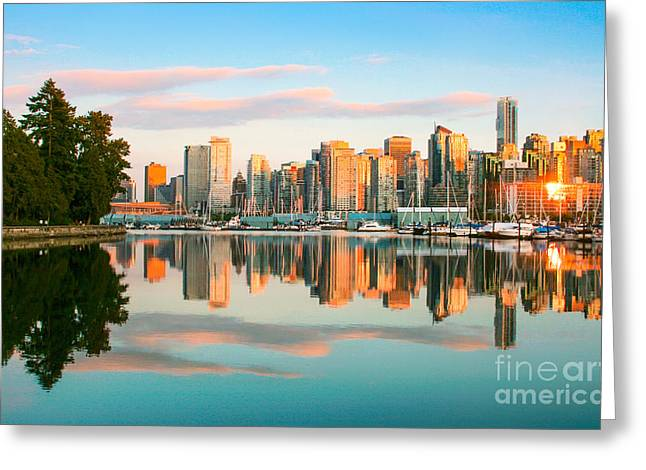 Vancouver Sunset Greeting Card by JR Photography