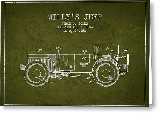 Vintage Willys Jeep Patent From 1942 Greeting Card by Aged Pixel