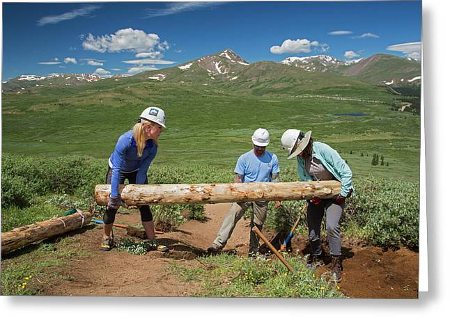 Volunteers Maintaining Hiking Trail Greeting Card by Jim West
