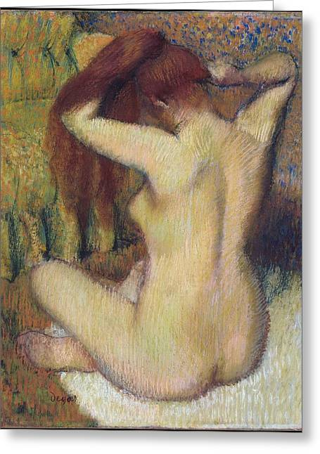 Woman Combing Her Hair Greeting Card by Edgar Degas