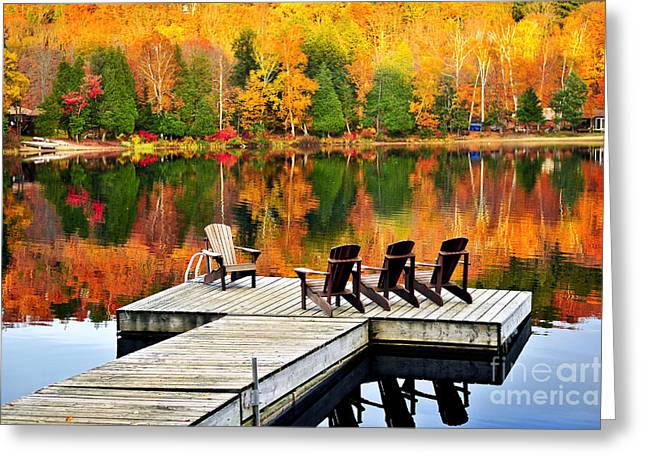 Wooden Dock On Autumn Lake Greeting Card