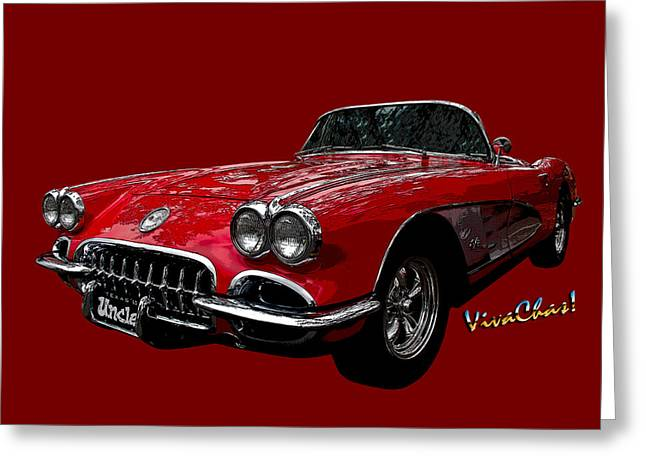 60 Red Corvette Greeting Card