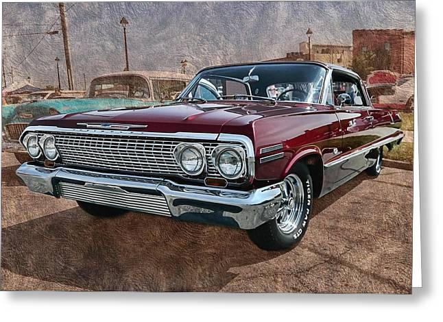 '63 Impala Greeting Card by Victor Montgomery