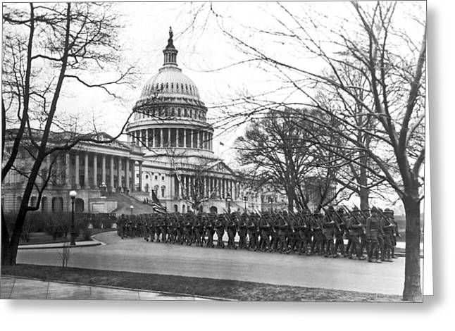 63rd Infantry Ready In Dc Greeting Card by Underwood Archives