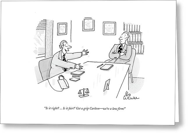 'is It Right? ... Is It Fair?' Get A Grip Carlton Greeting Card