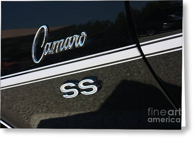 67 Black Camaro Ss Logo-8024 Greeting Card by Gary Gingrich Galleries