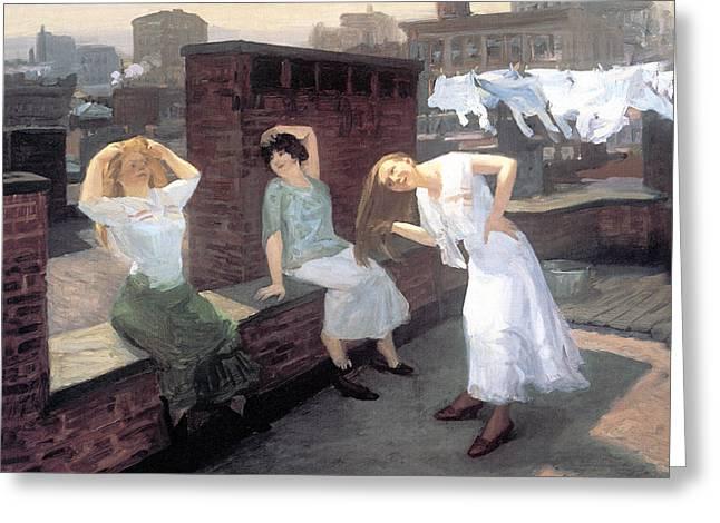 Sunday Women Drying Their Hair Greeting Card