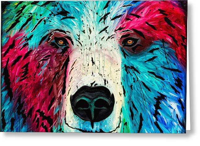 Greeting Card featuring the painting Bear by Dede Koll