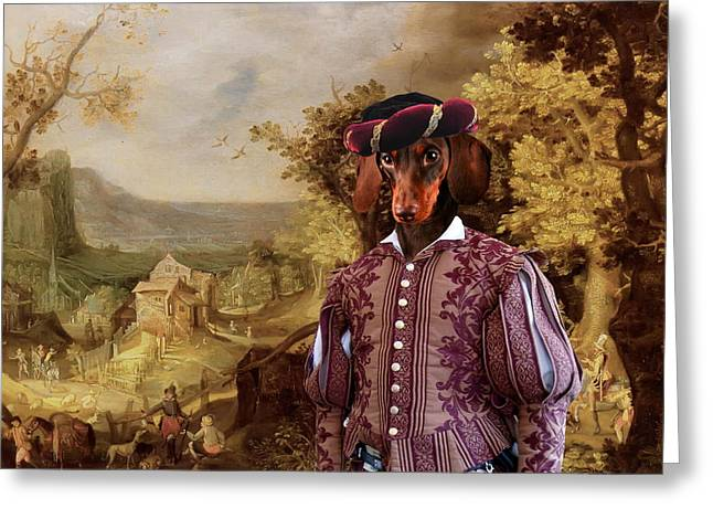 Dachshund Art Canvas Print Greeting Card by Sandra Sij