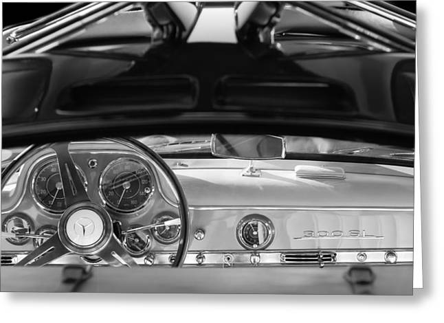 1955 Mercedes-benz Gullwing Dashboard - Steering Wheel Greeting Card