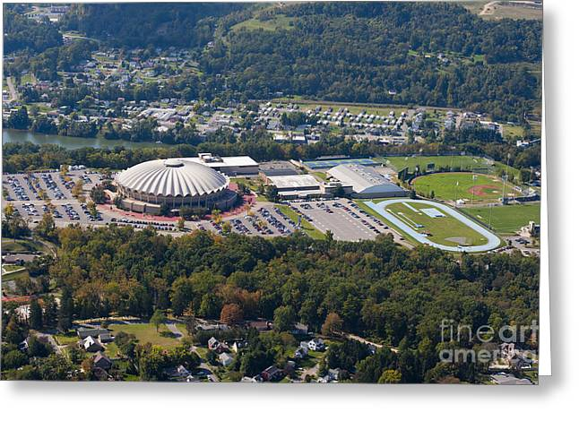 aerials of WVVU campus Greeting Card by Dan Friend