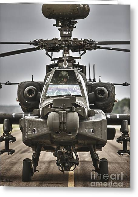 Ah-64 Apache Helicopter On The Runway Greeting Card by Terry Moore