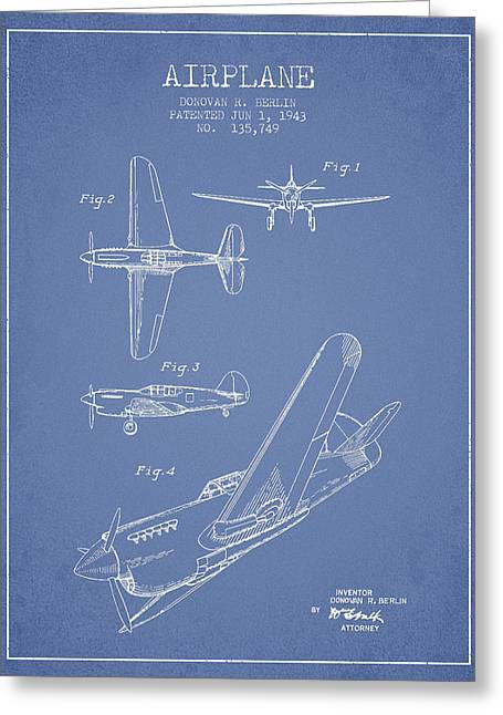 Airplane Patent Drawing From 1943 Greeting Card by Aged Pixel