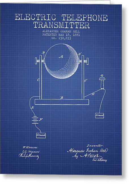Alexander Graham Bell Electric Telephone Transmitter Patent From Greeting Card by Aged Pixel