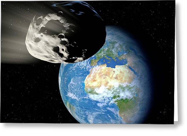 Asteroid Approaching Earth Greeting Card